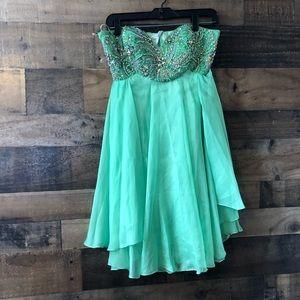 Sherri Hill Green Bling Mini Prom Dress